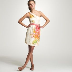 J. Crew silk floral one-shoulder dress